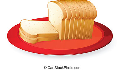 bread slices - illustration of bread slices in red dish on...