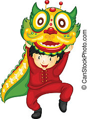 Chinese culture - Illustration of a boy dancing with dragon
