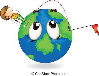 boy on earth planet