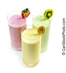 Fruit smoothies - Various fruit smoothies isolated on white...