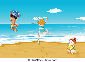 kids on seashore - illustration of kids on seashore in a...