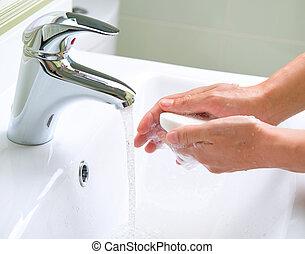 lavando, mãos, Limpeza, mãos, higiene