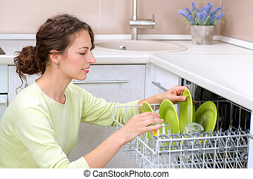 Dishwasher. Young woman in the Kitchen doing Housework....
