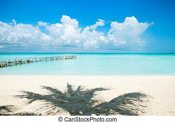 weißes, sandstrand, karibisch,  Sand