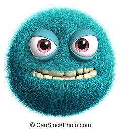 blue alien - furry monster