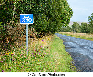 Bikeway - Bicycle lane sing on a cycle route in Scotland