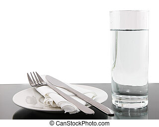 Table appointment- dishware on white background. - Table...