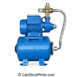 Water pump - Blue electric high pressure water pump isolated...