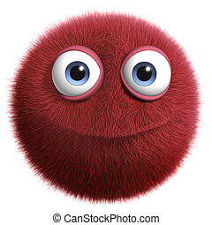 red hairy ball - furry monster