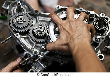 motor, reparación, motocicleta