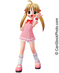 Anime Toon Girl - 3D Render of an Anime Toon Girl
