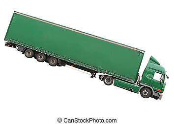 Big green truck Isolated over white - Big green truck...