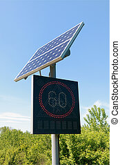 Transportation - Road sign with solar panel with blue sky