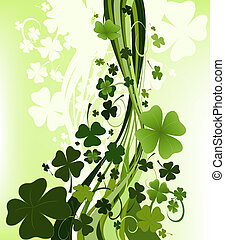 design for St. Patrick\\\'s Day with four and three leaf...