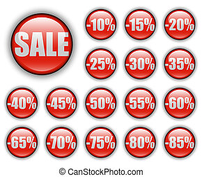 discount web buttons - discount sales; shiny round red web...