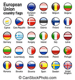 flag web buttons - Flags of countries - members of European...