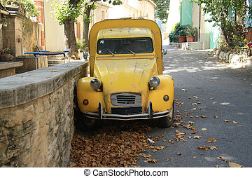 Vintage French Car - Vintage yellow French van, commercial...