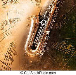Old Saxophone with dirty background - Retro Sax with old...