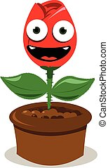 funny red rose smiling