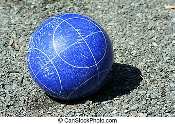 Close up of a blue bocce ball - A Close up of a blue bocce...
