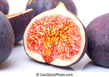 Ripe Fruits Figs on white background