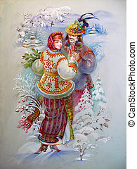 Girl and boy in traditional clothes - beautiful boy and girl...