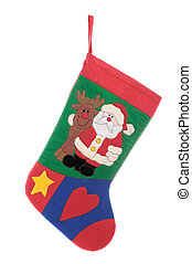 Christmas sock isolated on white background - Christmas sock...