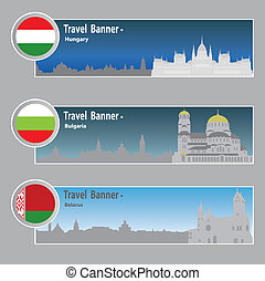 Travel banners  - Travel banners: Hungary, Bulgaria, Belarus