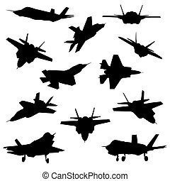 Fighter aircraft silhouettes isolated on white background.
