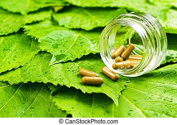 píldoras, tarro, encima, verde, hojas, sano,...