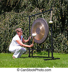 Gong sound healing - Gong used for sound healing; the gong...