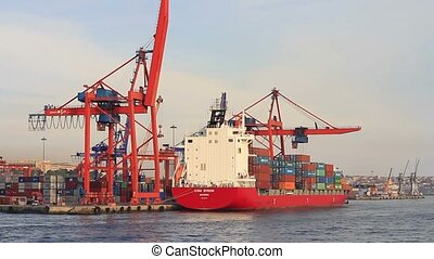 Red Container Ship - Container ship with full of cargo...
