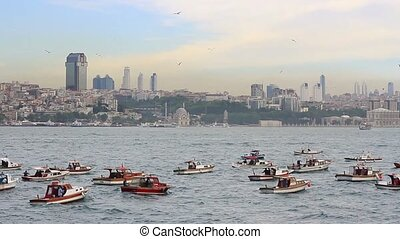 Fishing boats out in the Bosphorus in Istanbul Estimated...