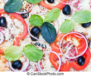 pepperoni pizza background with vegetables