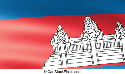 Cambodian Flag Waving