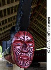 Whare Waka (Canoe house) - WAITANGI - OCTOBER 02: The Whare...