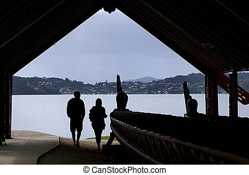 Whare Waka Canoe house - WAITANGI - OCTOBER 02: Visitors at...