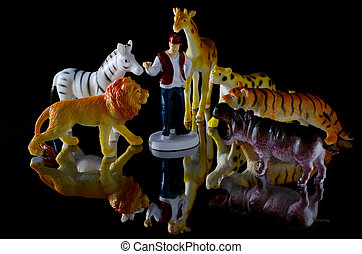Human figure and toy animals - Toy animals: Lion, Cheetah,...