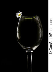 White flower and empty wine glass - A small white flower...