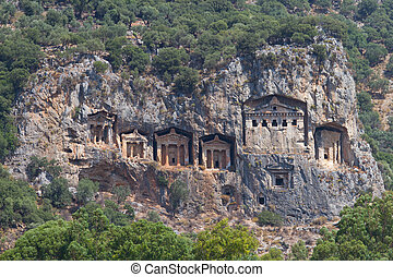 Kaunian rock tombs from Dalyan, Ortaca, Turkey