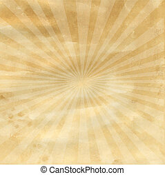 Old Paper With Sunburst - Old Paper With Retro Sunburst,...