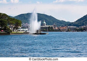 Beautiful fountain in Como city (Italy) - Beautiful fountain...