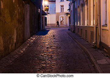 Night street at old town of Tallinn Estonia