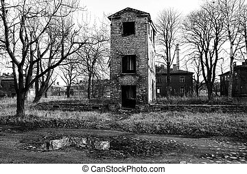 ruined old house in black and white - ruined old house in...