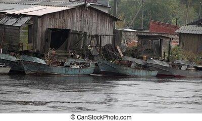 fishing village in the rain