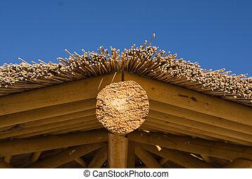 Palapa roof - Palapa huts close up on beach at Colorado...