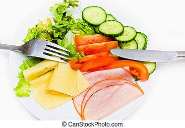 Plate with GI foof - A plate with fresh GI food isolated on...