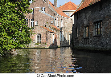 View from the Brugge canal in Belgium - View from the boat...