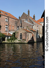 View from the water canal in Brugge, Belgium - View from the...