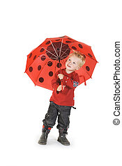 rainy day for the little boy with his umbrella